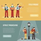 Bannières horizontales de musiciens de gens et de rue illustration stock