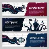 Bannières horizontales de musique réglées avec le poulpe illustration libre de droits