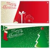 Bannières horizontales de Noël Images libres de droits