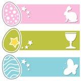Bannières horizontales de rétros oeufs de Pâques Photos libres de droits