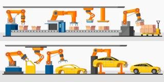 Bannières horizontales de robot d'automation industrielle illustration de vecteur
