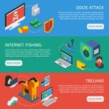 Bannières horizontales de sécurité isométrique d'Internet illustration libre de droits