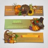 Bannières horizontales de thanksgiving heureux réglées Photos stock
