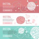 Bannières horizontales de tricotage et de couture réglées Photographie stock