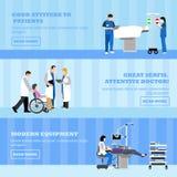 Bannières horizontales de vecteur avec des médecins et des patients dans l'hôpital Patients passant le contrôle médical, opératio illustration libre de droits