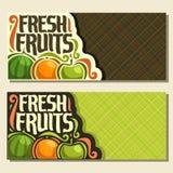 Bannières horizontales de vecteur pour des fruits frais d'ensemble Photos libres de droits