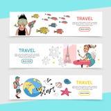 Bannières horizontales de voyage plat Photos libres de droits