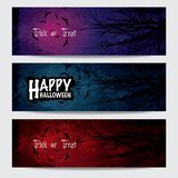 Bannières horizontales heureuses de Halloween réglées Image libre de droits