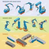 Bannières horizontales industrielles isométriques d'usine automatisée illustration stock