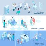 Bannières horizontales isométriques de personnel hospitalier illustration stock