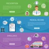 Bannières horizontales médicales Photo stock