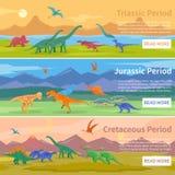Bannières horizontales plates de dinosaures Images libres de droits