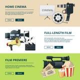 Bannières horizontales réglées avec des compositions en cinéma Photos visuelles de divertissement illustration libre de droits