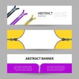 Bannières horizontales réglées avec l'endroit vide pour le texte tirettes en métal illustration stock