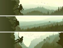 Bannières horizontales réglées des alpinistes illustration libre de droits