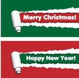 Bannières horizontales rouges et vertes avec les rayures déchirées de papier roulé illustration libre de droits