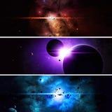 Bannières imaginaires de l'espace Photographie stock
