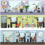 Bannières intérieures de concept de vecteur de salon de beauté La coupe de cheveux, manucure et composent l'atelier Femmes dans l illustration libre de droits