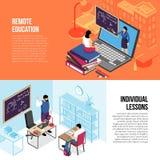 Bannières isométriques d'éducation illustration stock