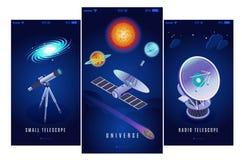 Bannières isométriques d'astrophysique illustration libre de droits