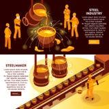 Bannières isométriques d'industrie sidérurgique illustration libre de droits