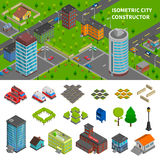 Bannières isométriques de constructeur de ville Photo libre de droits