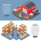 Bannières isométriques de logistique et de livraison illustration libre de droits