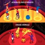 Bannières isométriques de professions de cirque illustration stock