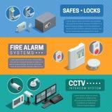 Bannières isométriques de système de sécurité à la maison réglées illustration stock