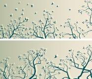 Bannières larges horizontales des branches d'arbre et volée des oiseaux Photographie stock