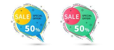 Bannières linéaires plates de ruban de promotion, prix à payer, autocollants, badg Image stock