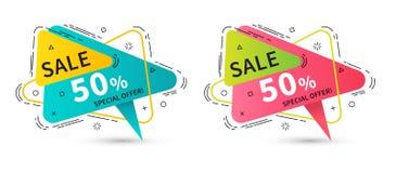 Bannières linéaires plates de ruban de promotion, prix à payer, autocollants, badg Image libre de droits