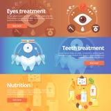 Bannières médicales et de santé réglées Soins des yeux illustration libre de droits