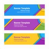 Bannières matérielles de conception Ensemble de bannières horizontales colorées modernes de vecteur, en-têtes Photographie stock