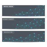 Bannières modernes de la science Structure de molécule de l'ADN et des neurones Image libre de droits