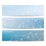 Bannières modernes de la science Structure de molécule de l'ADN et des neurones Photographie stock