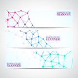Bannières modernes de la science Structure de molécule de l'ADN et des neurones Images libres de droits