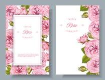 Bannières naturelles de cosmétiques de Rose illustration libre de droits