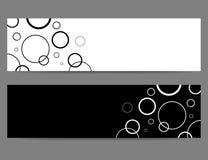 Bannières noires et blanches avec des cercles Image stock