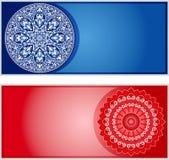 Bannières occidentales et orientales, rouge bleu de fin Illustration Libre de Droits