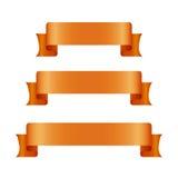 Bannières oranges de ruban réglées Beau blanc de graphique de décoration Vieille conception de style de vintage Image libre de droits