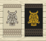 Bannières ou cas de calibre pour des verres avec le hibou et l'ornement sans couture dans le style de Zen-griffonnage illustration libre de droits