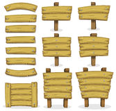 Bannières, panneaux et signes en bois pour le jeu d'Ui illustration stock