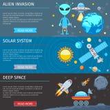 Bannières plates colorées de l'espace et d'astronomie réglées illustration de vecteur