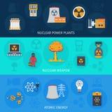 Bannières plates d'énergie nucléaire réglées illustration libre de droits