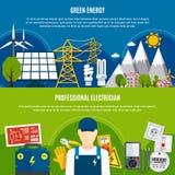 Bannières plates d'And Clean Energy d'électricien Photo libre de droits