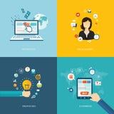 Bannières plates d'Internet réglées Appui en ligne, idée créative, e-COMM. Photos libres de droits