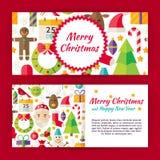 Bannières plates de calibre de vecteur de style de Joyeux Noël réglées Image stock