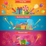 Bannières plates de festival de pyrotechnie illustration stock