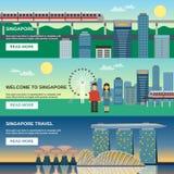 Bannières plates de la culture 3 de Singapour réglées illustration de vecteur